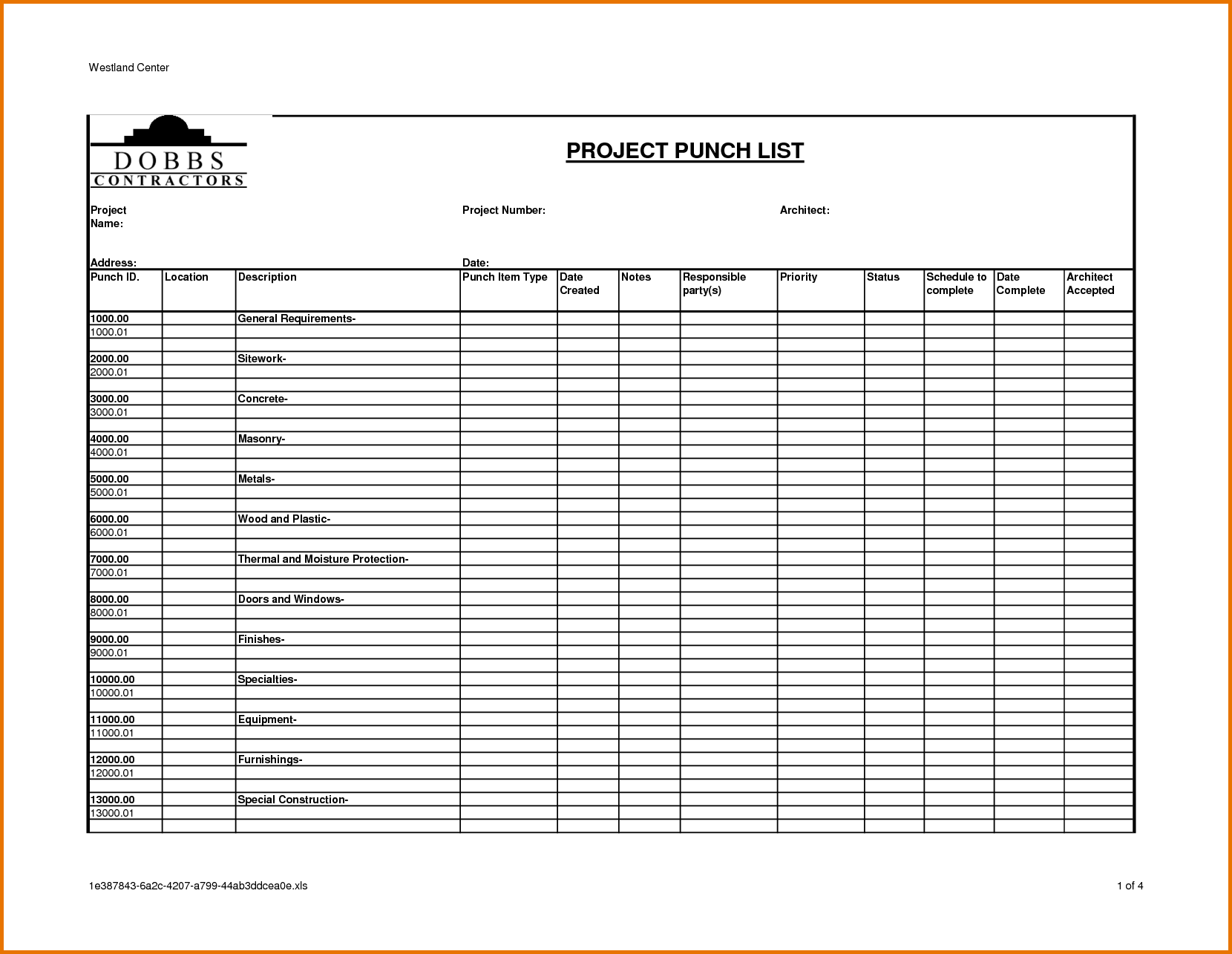 Free Excel Construction Schedule Template and Construction Project Punch List Template to Do List Template