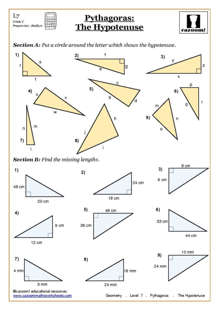 Free Geometry Worksheets for High School and Trigonometry and Pythagoras Worksheets Worksheets Geometry and Math