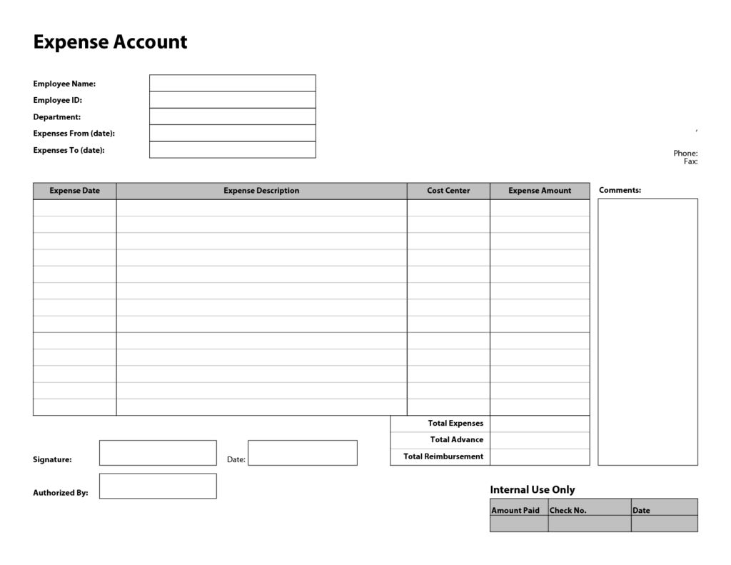 Free Monthly Expense Report Template and Free Printable Basic Expense Report Template Sample Helloalive