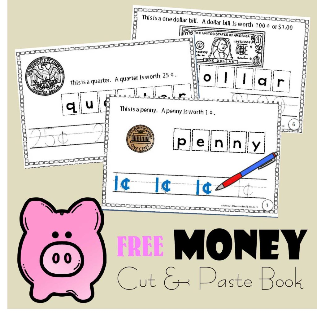Free Printable Homeschool Worksheets and Money Cut and Paste Book