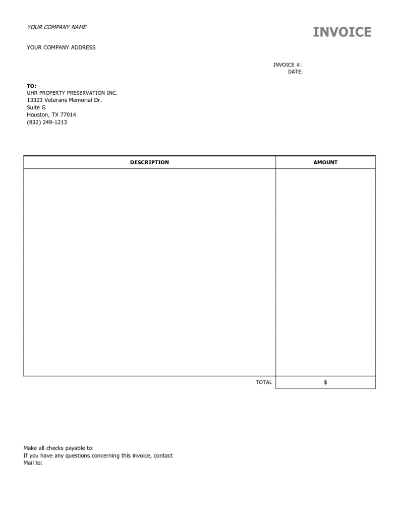 Free Printable Invoice Templates Word and Free Blank Invoice Templates Printable Sponsor form 10 Best Images