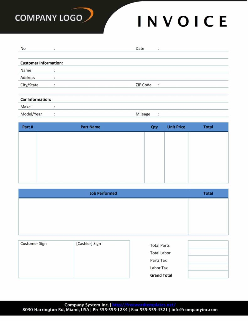 Free Printable Invoices Templates and Auto Repair Invoice Freewordtemplates