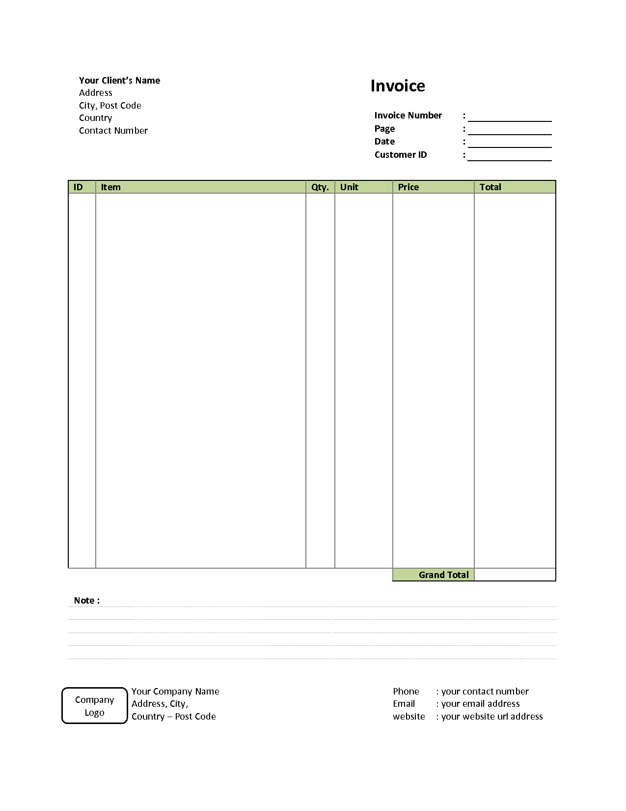 Free Printable Invoices Templates and Simple Invoice Template Free to Do List