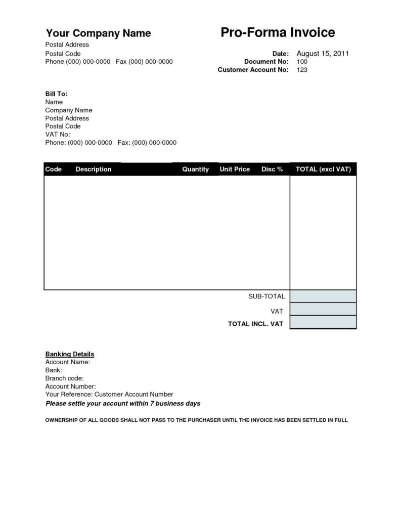 Free Printable Invoices Templates Blank and Proforma Invoice Template Free Invoice Template Ideas