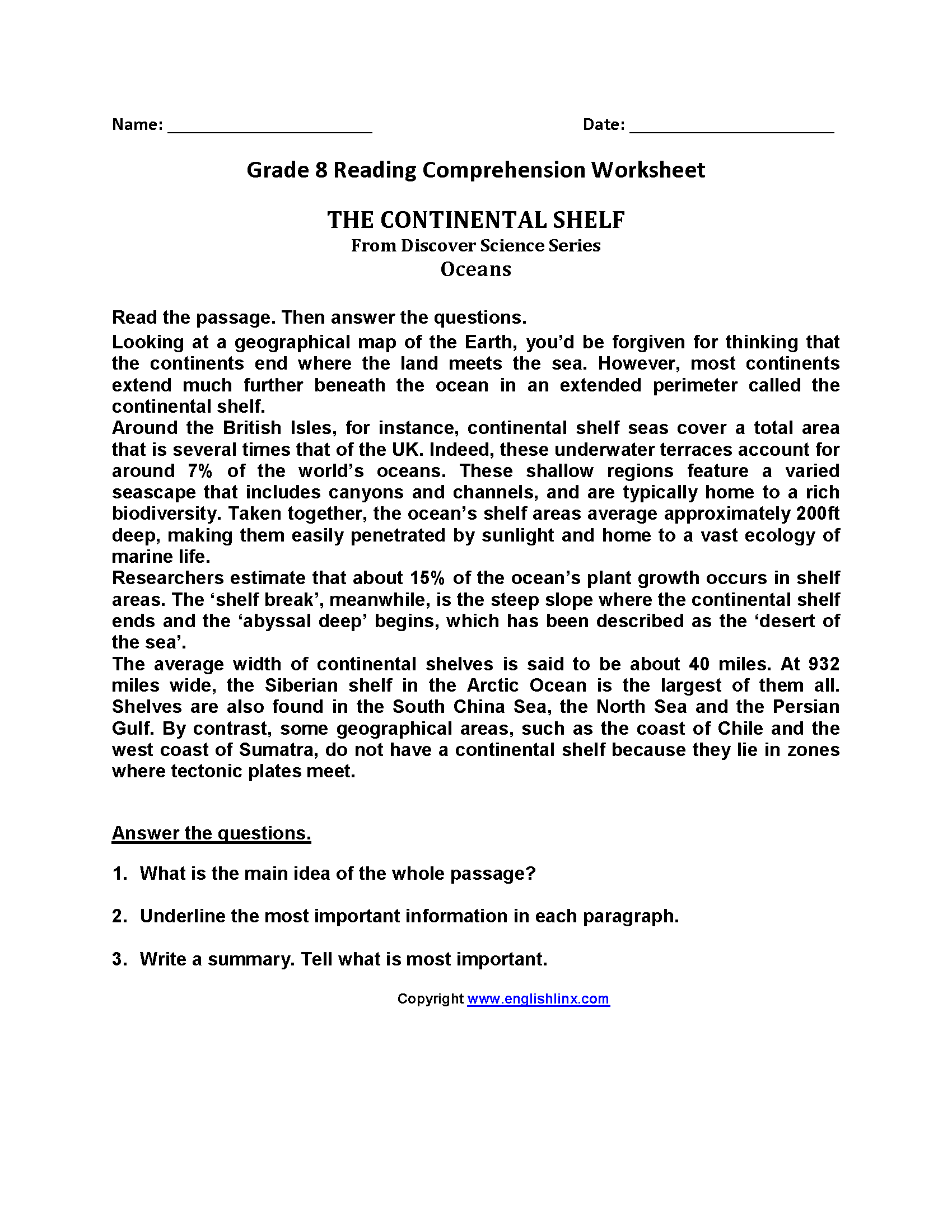 Free Printable Second Grade Reading Comprehension Worksheets and Reading Worksheets Eighth Grade Reading Worksheets