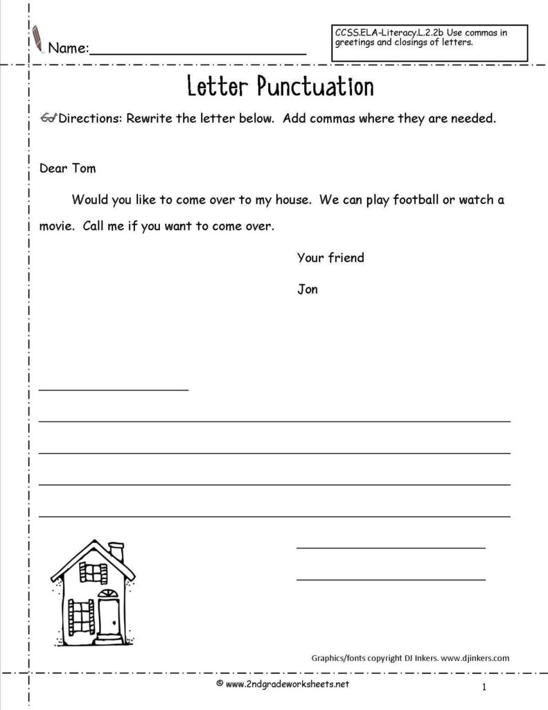 Free Printable Writing Worksheets for 3rd Grade and Letters and Parts Of A Letter Worksheet