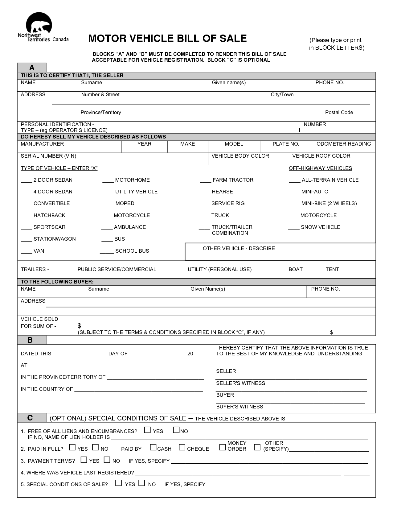 Free Sample Of Bill Of Sale for Used Car and Free Printable Free Car Bill Of Sale Template form Generic