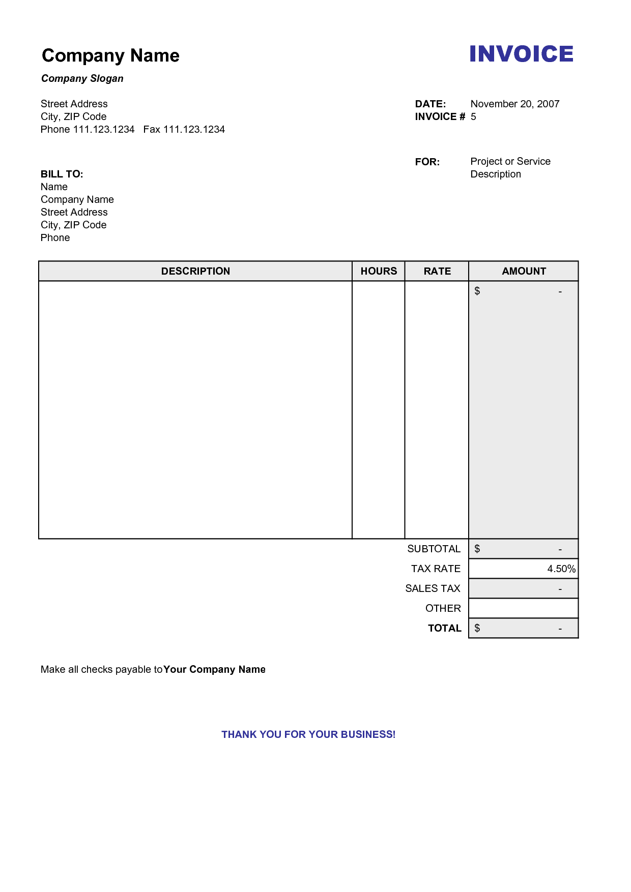 Free Samples Of Invoices and Blank Billing Invoice Scope Of Work Template organization