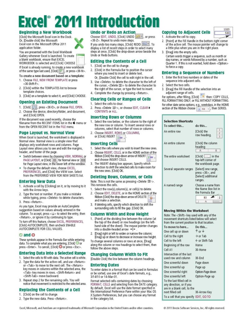 Free Spreadsheets for Mac and Excel 2011 for Mac Introduction Quick Reference Guide Cheat