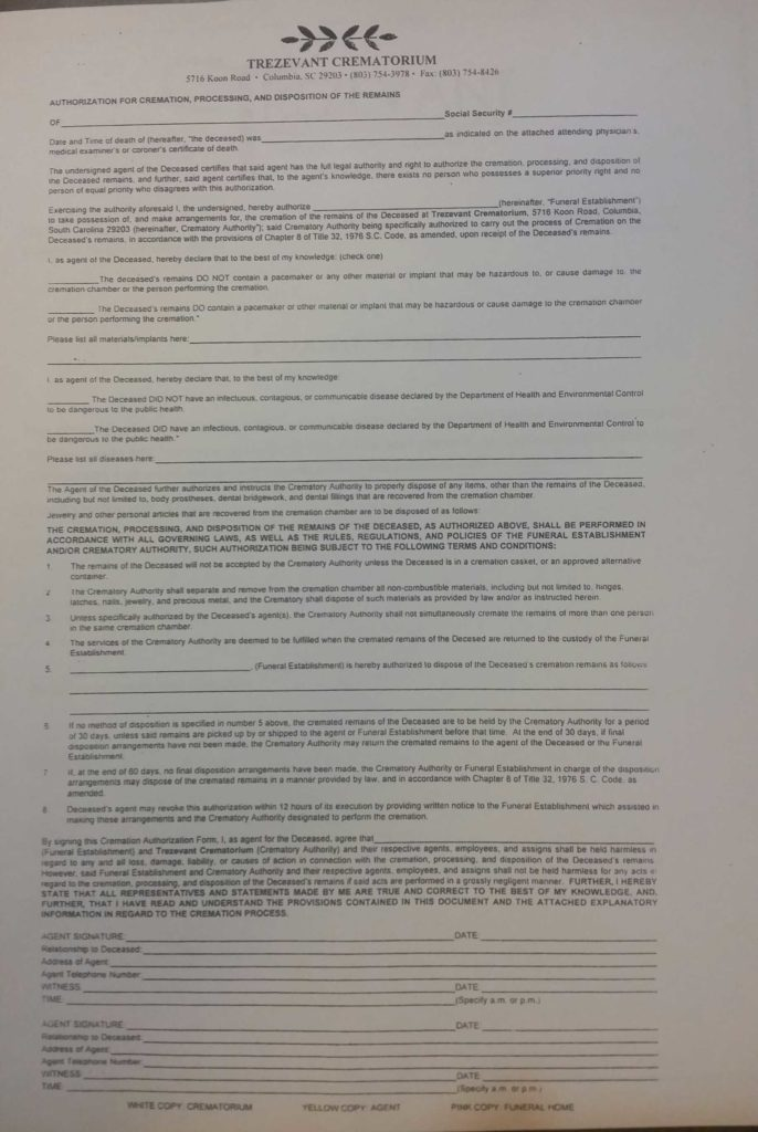 Funeral Pre Planning Worksheet and forms