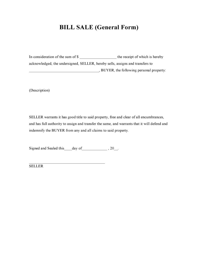 General Bill Of Sale Template and Free General Bill Of Sale form Pdf Word Do It Yourself forms