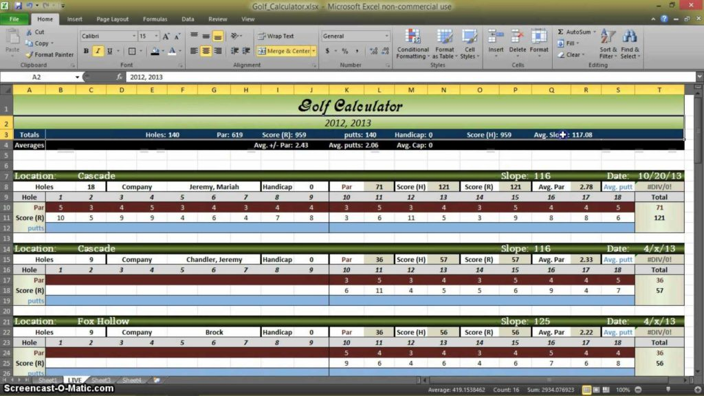 Golf Stat Tracker Spreadsheet and Golf Statistics Calculator In Excel Part 1 Youtube