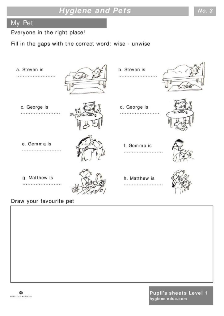Grade 4 Health Worksheets and Hygiene and Pets Worksheets for Kids Level 1 Personal Hygiene
