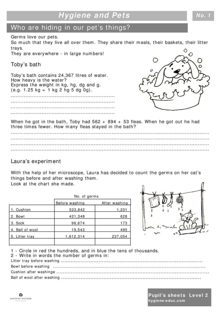 Grade 4 Health Worksheets and Hygiene and Pets Worksheets for Kids Level 2 Personal Hygiene