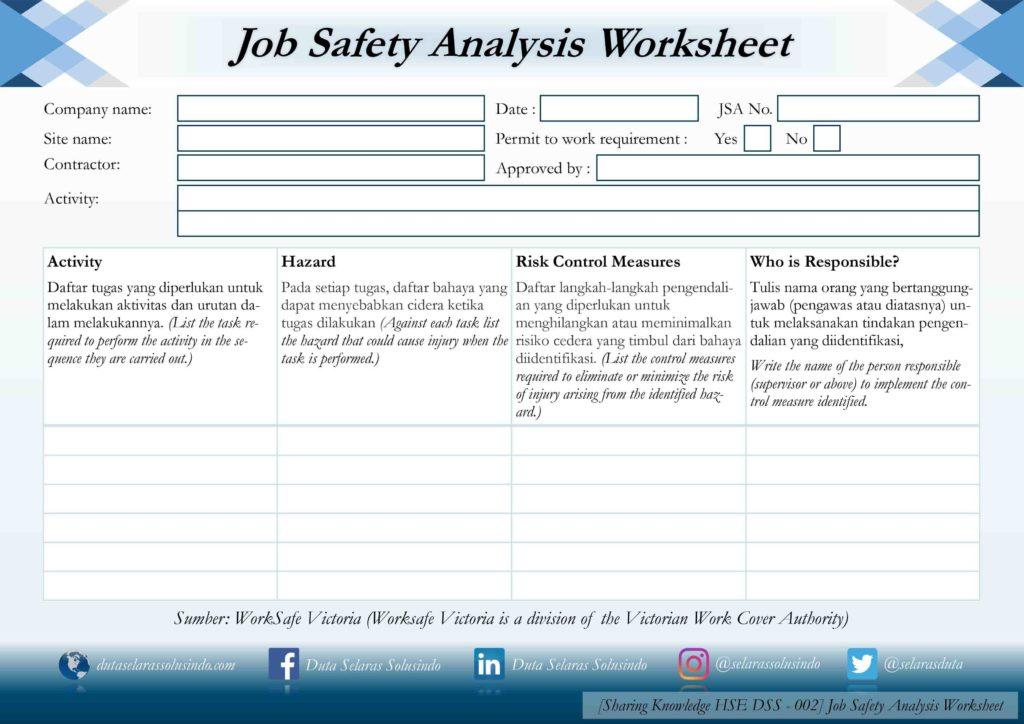 Hazard Analysis Worksheet Examples and Job Safety Analysis