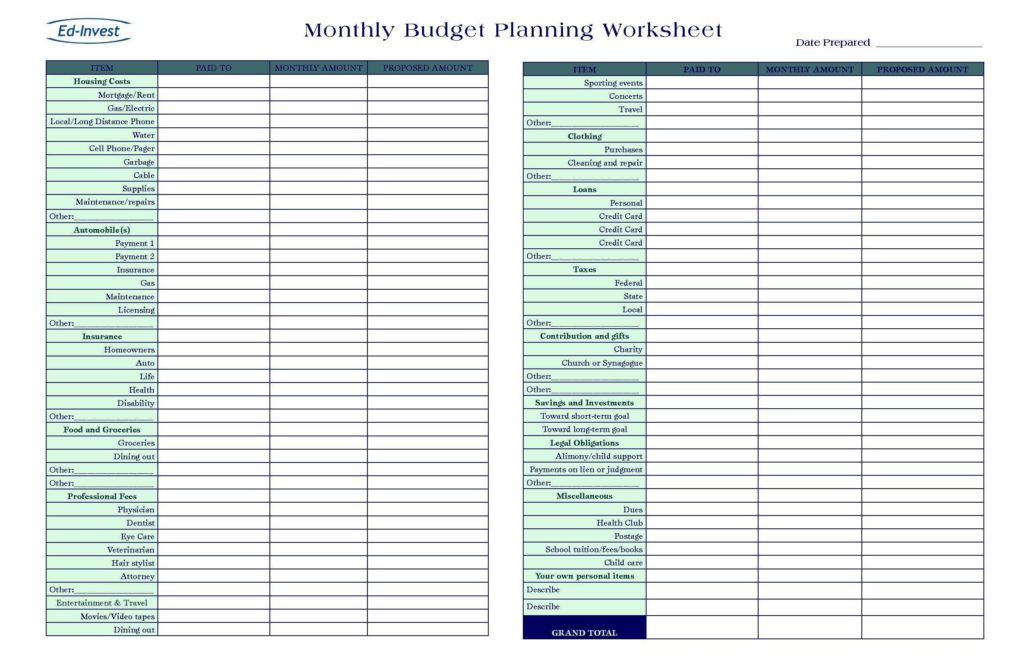 Home Budget Spreadsheet Free and Free Household Bud Worksheet Pdf and Free Home Bud Planner