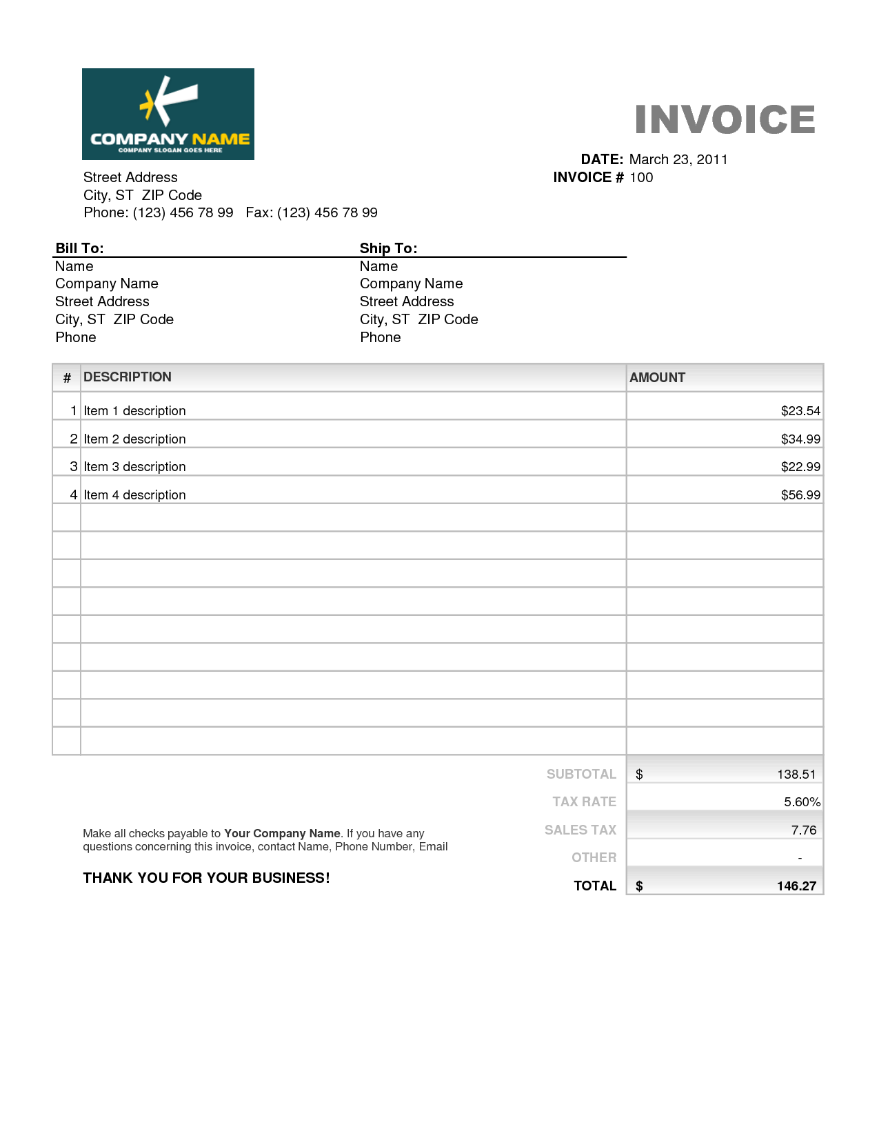 Home Health Care Invoice Template and Free Invoice Template Excel Invoice Example