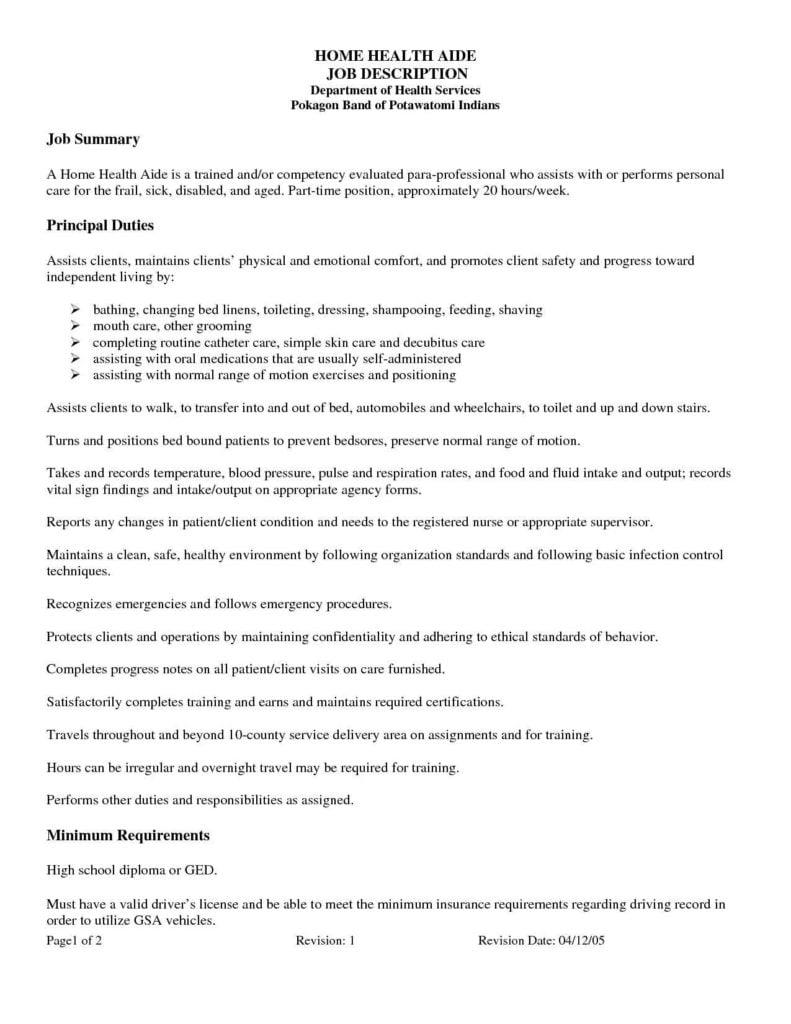 Home Health Care Invoice Template and Home Health Care Job Description Resume Sample