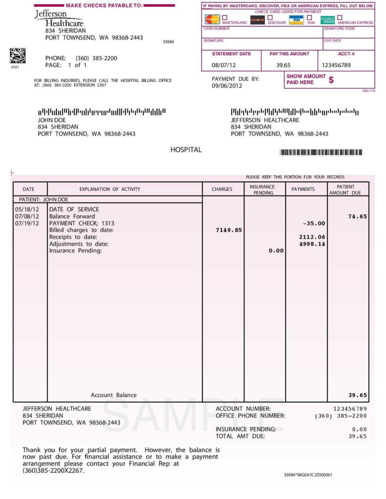 Hospital Invoice Sample and 10 Best Images Of Sample Of Invoice for Payment Sample Invoice