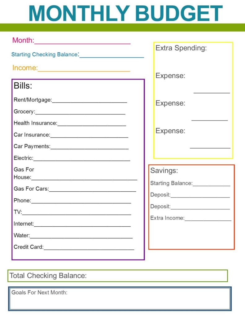 Household Budget Worksheets and Monthly Family Bud Great Habit to Start for the New Year if