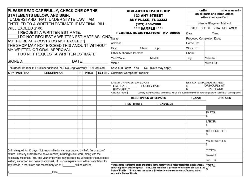 Hvac Estimate Template and 14 Best Photos Of Auto Repair Invoice Template Printable Auto Body