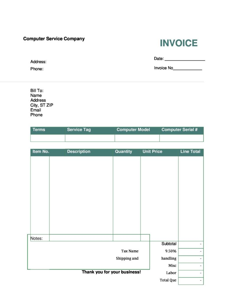 Hvac Invoices Templates and Blank Invoice form Free Printable Invoice Template