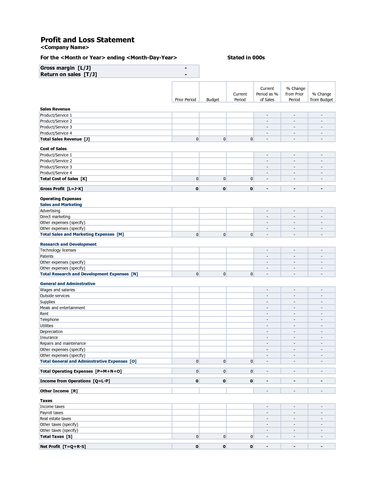 Income and Expense Statement Template and Profit and Loss Statement Excel Excel Xlsx Templates