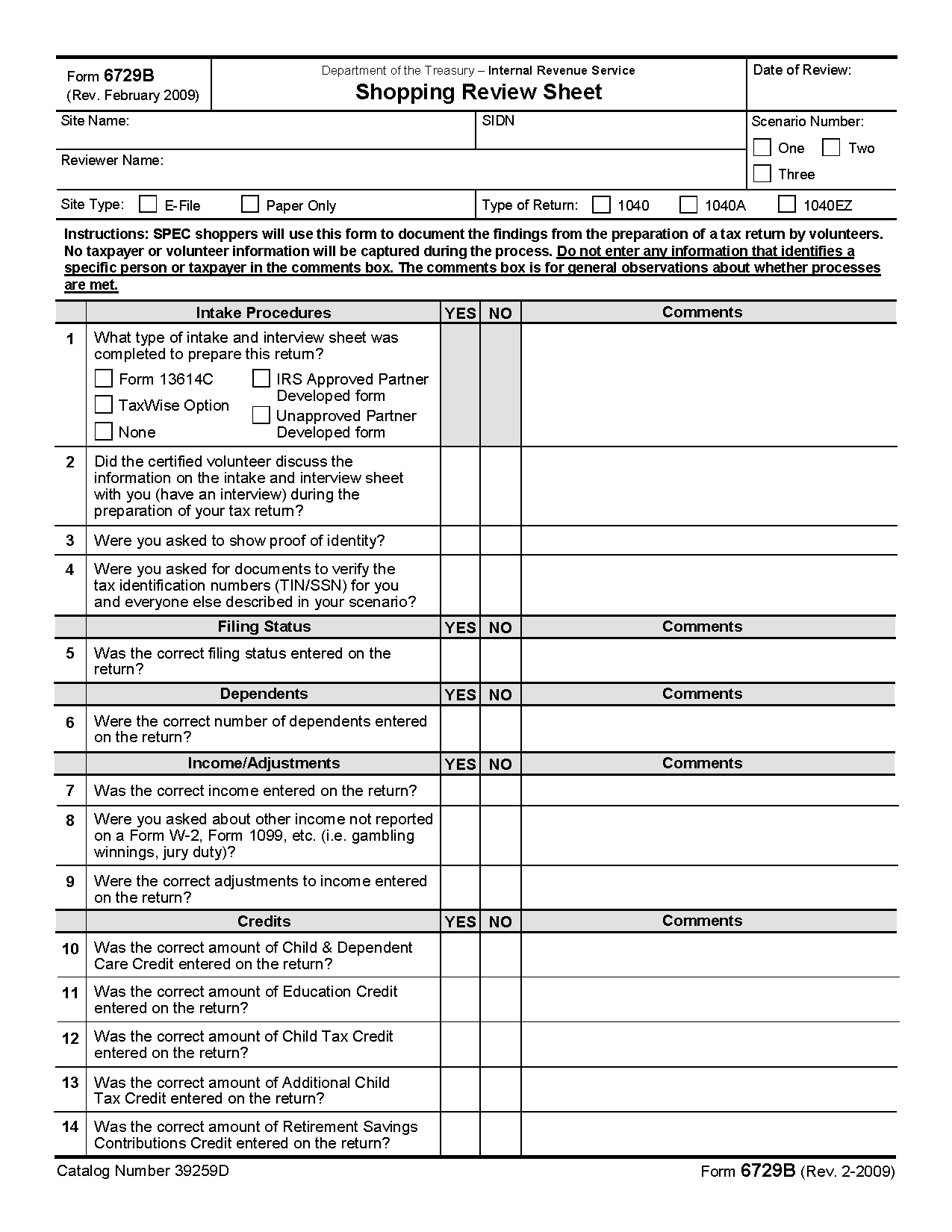 Income Tax Preparation Worksheet