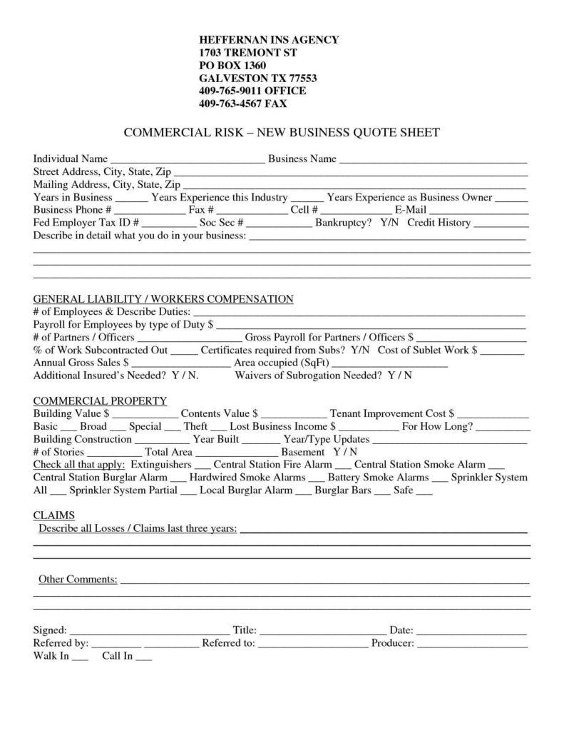 Insurance Quote Sheet Template and Sample Insurance Quotes for Home Quotesgram In Insurance Quote