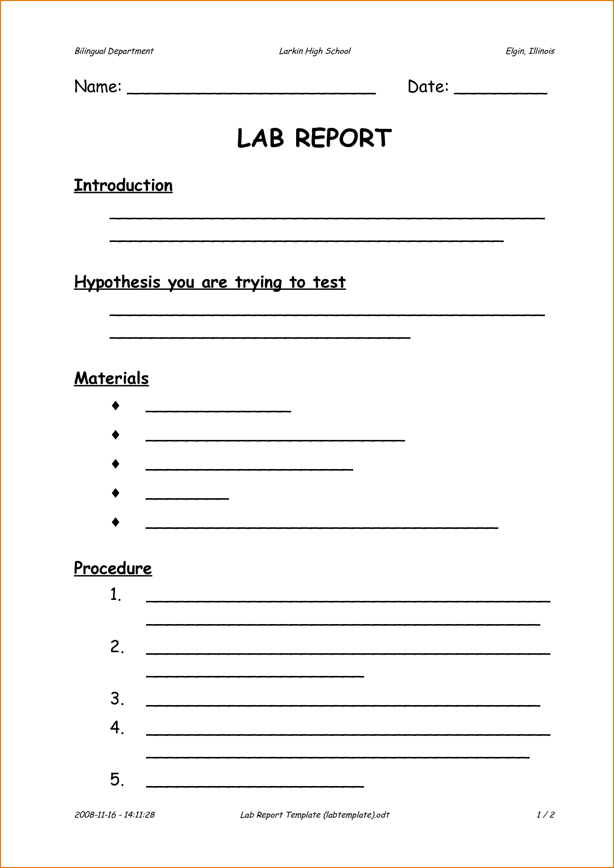 Internal Audit Report Template iso 9001 and 6 formal Lab Report Template Printable Receipt