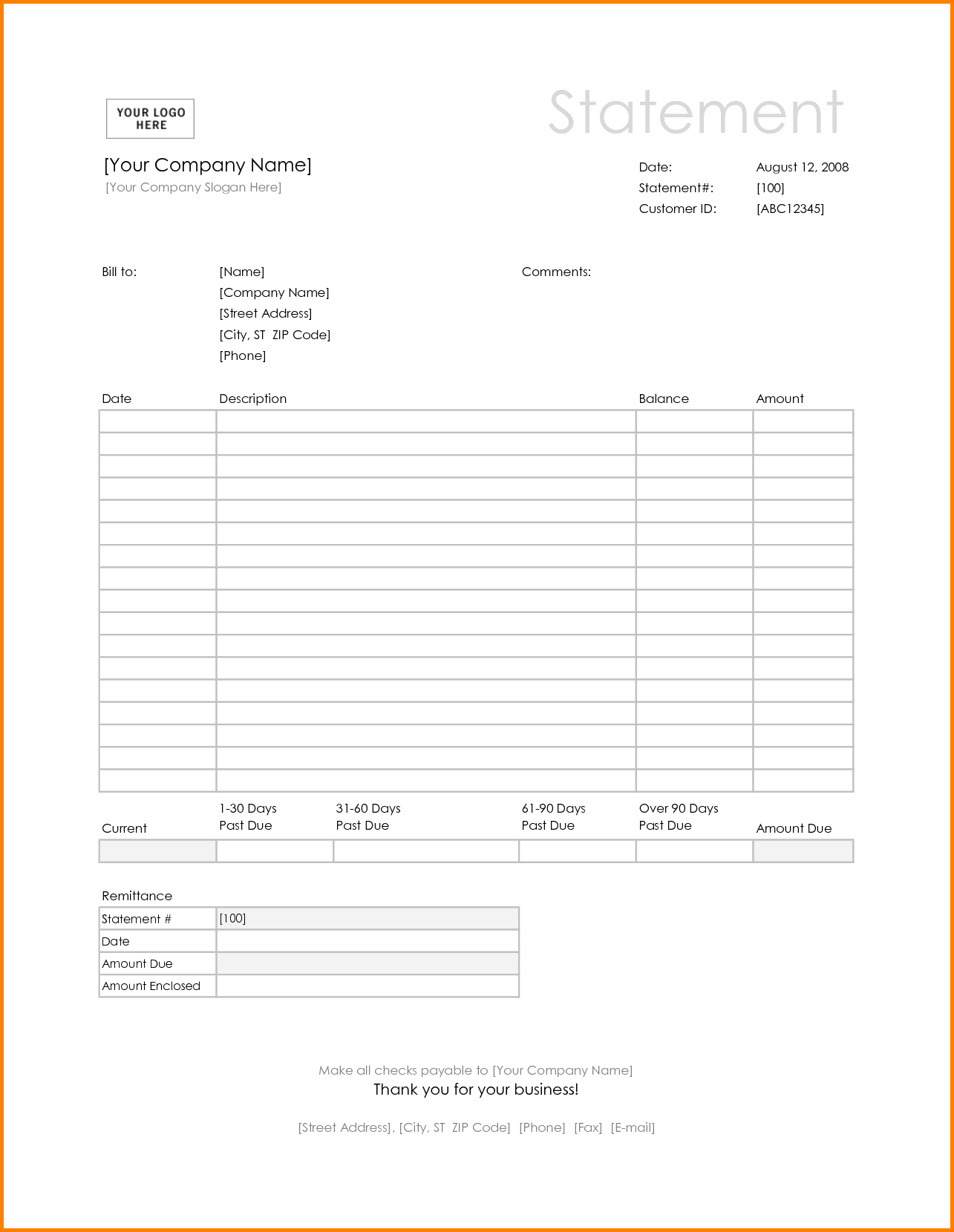 Invoice Statement Template Free and 8 Blank Billing Statement Simple Bill