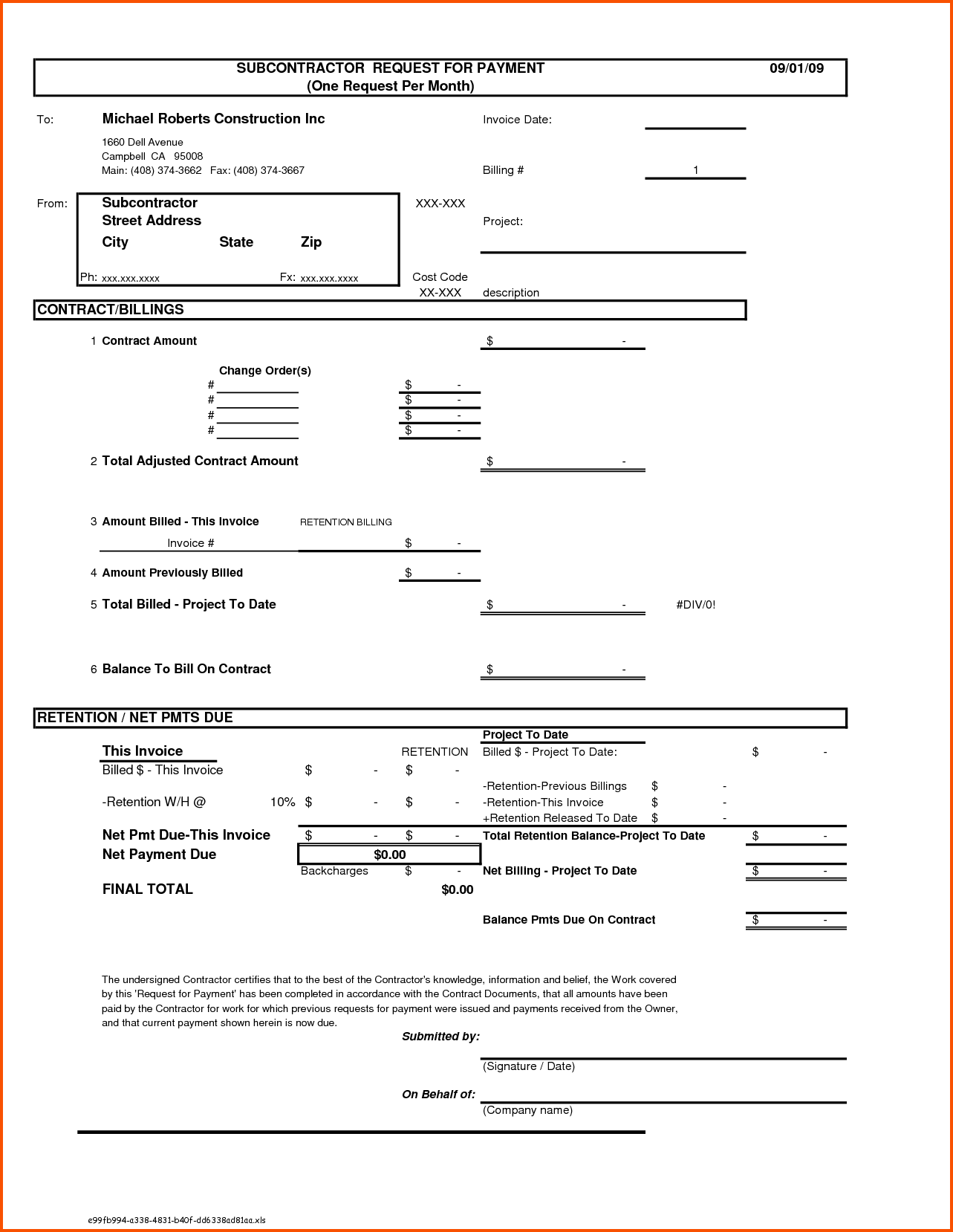 Invoice Template for Contractors and Construction Invoice Templates Rabitah