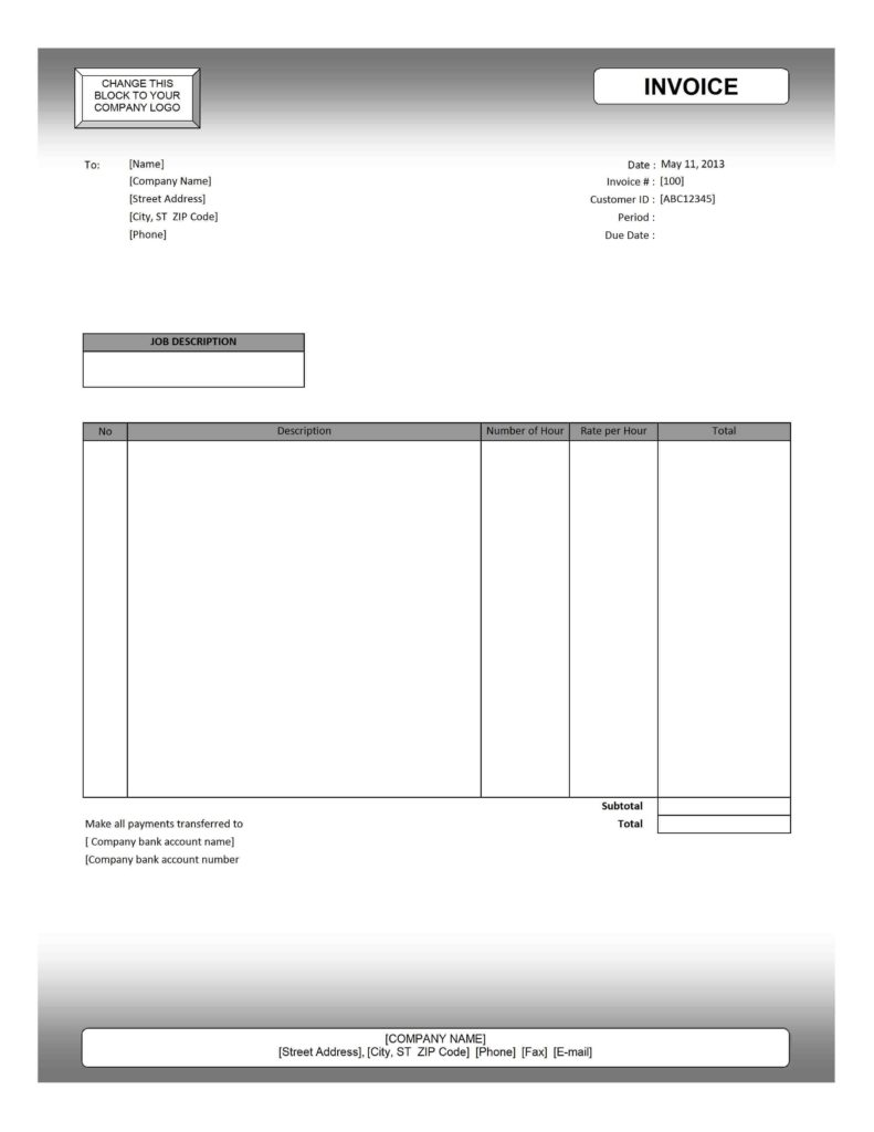 Invoice Template for Services Rendered and Service Invoice Template Excel Invoice Template Ideas