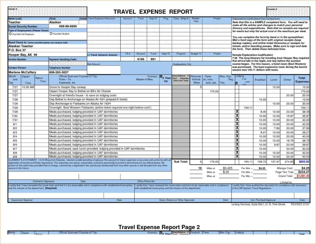 Itemized Expense Report Template and Expense Report Spreadsheet Template Haisume
