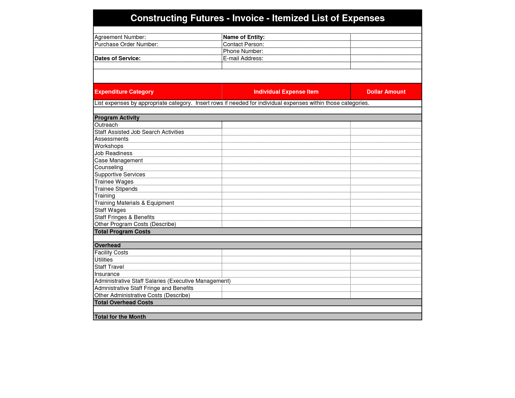 Itemized Invoice Template and Itemized Invoice Template Invoice Example