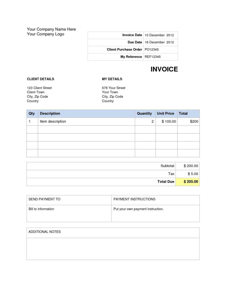 Itemized Invoice Template and Tax Invoice Template Free Word Rabitah