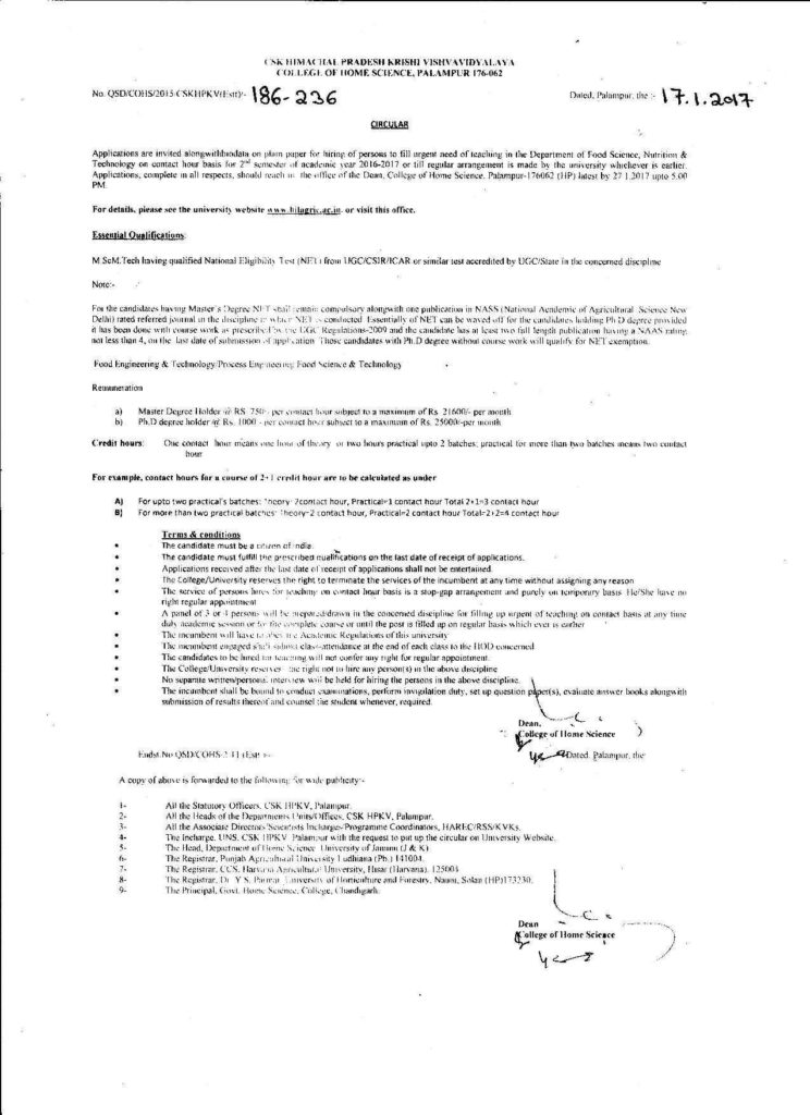 Job Worksheet Pdf and Csk Hpkv Palampur Job Advertisement