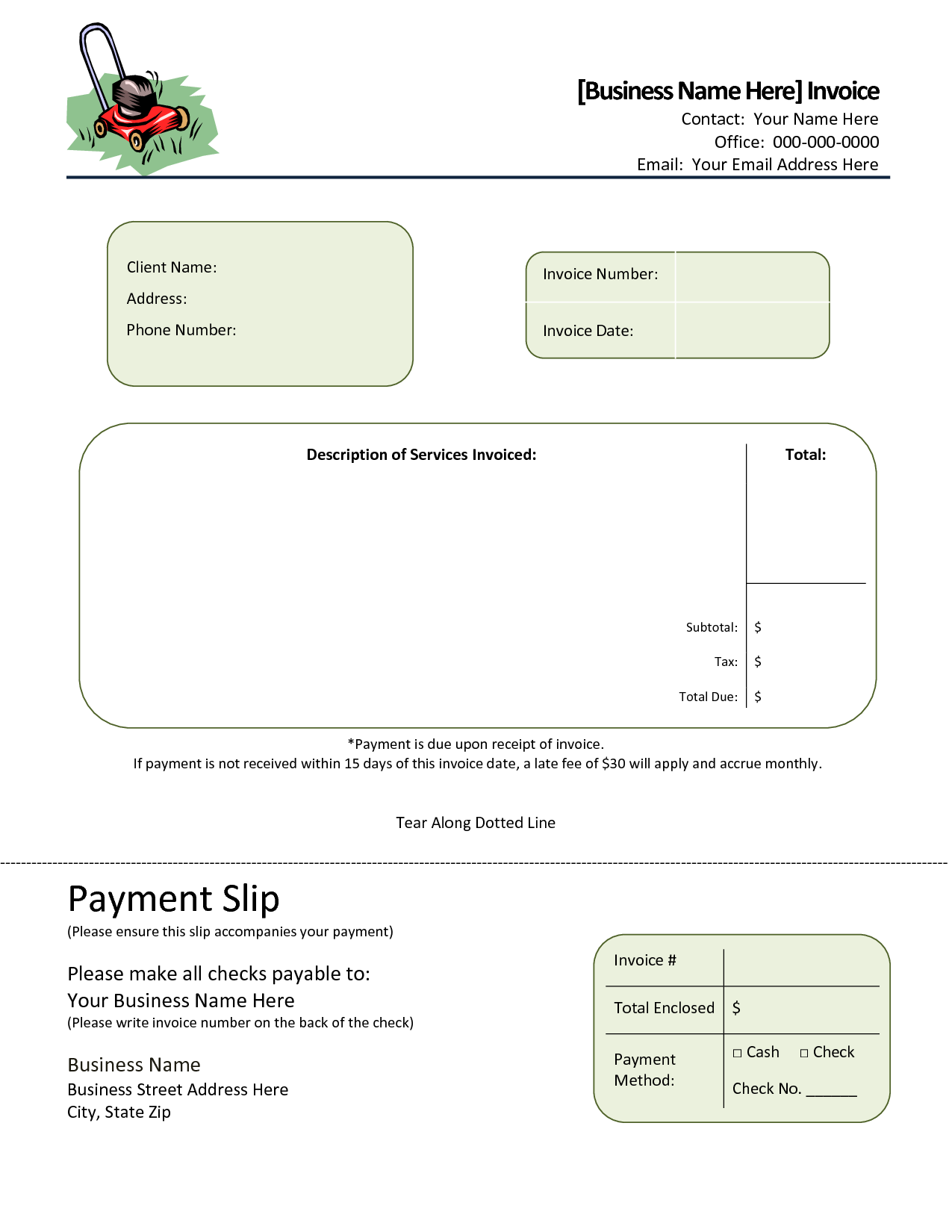 Landscaping Estimates Examples and Landscaping Invoice Template Invoice Example