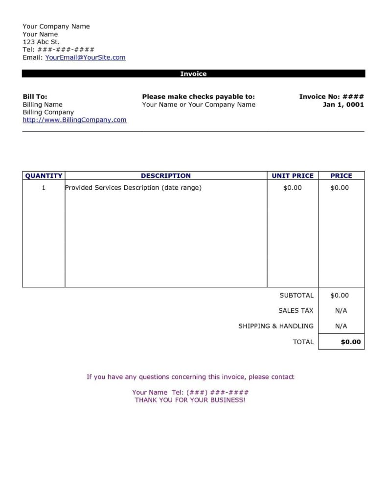 Lawn Care Invoice Template and Free Printable Invoice Template Uk Rabitah