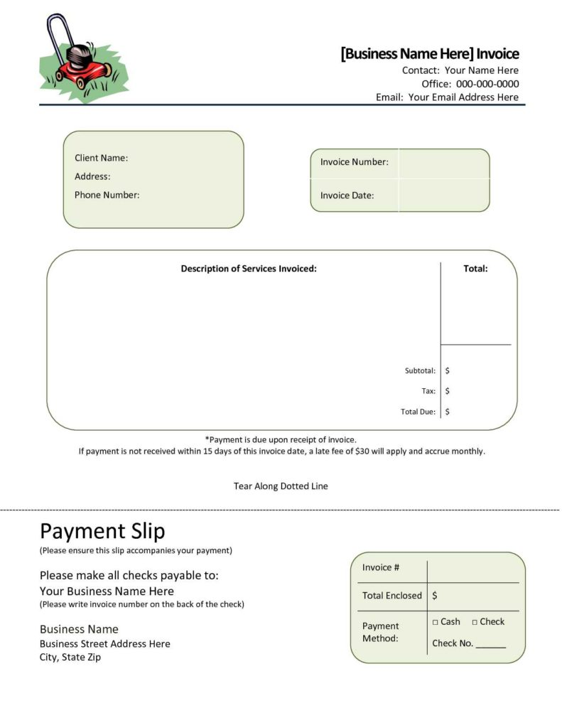Lawn Care Invoice Template and Lawn Service Invoice Template Invoice Template Ideas