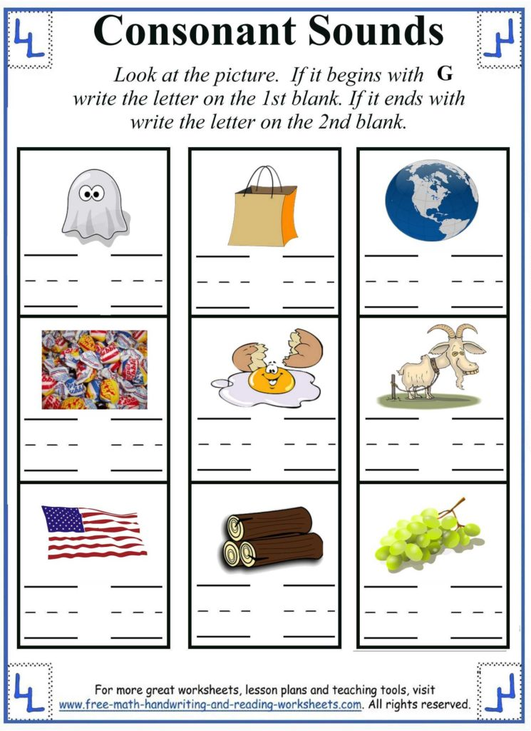 Learning to Read Worksheets Kindergarten and Letter G Worksheet Activities