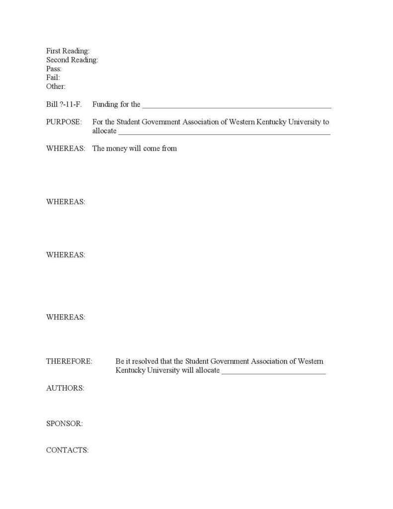 Legislative Bill Template and Writing Bills Resolutions Western Kentucky University