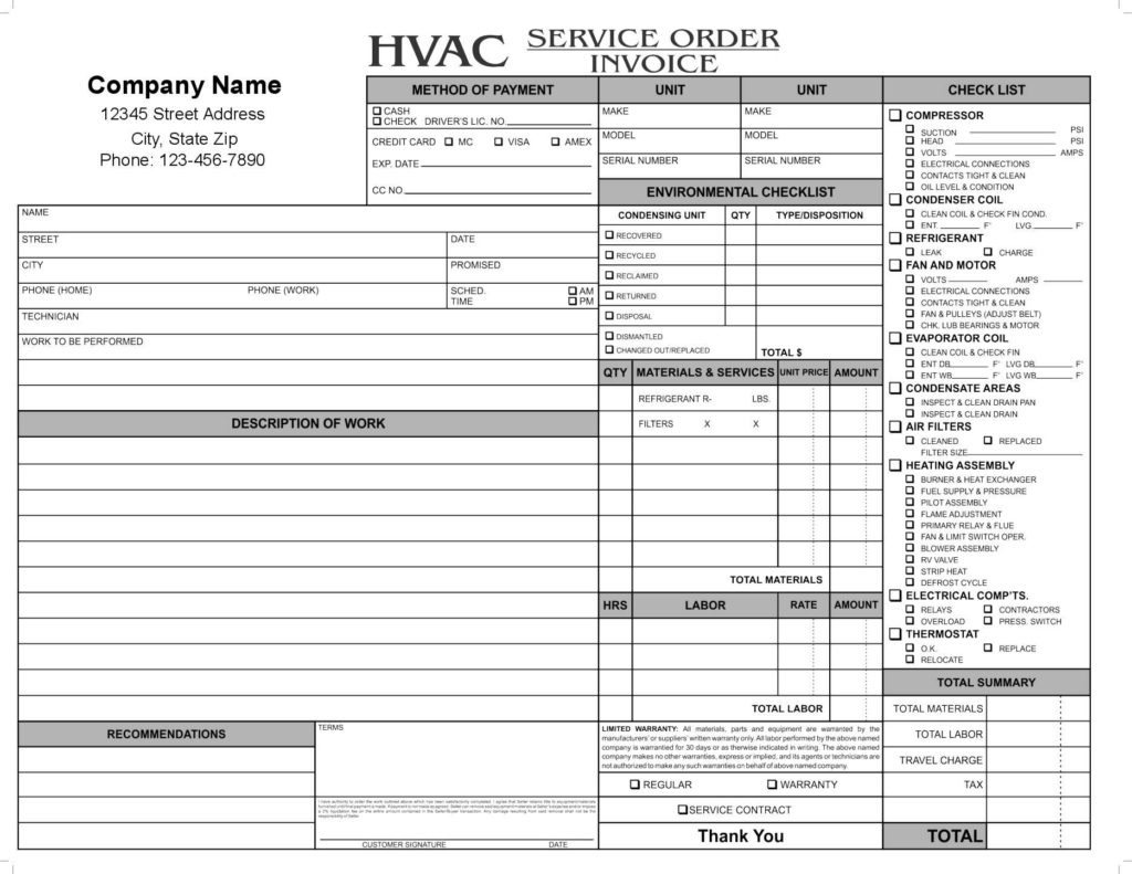 Maintenance Invoice Template Free and 11 Hvac Invoice Template Free top Invoice Templates Hvac Invoice