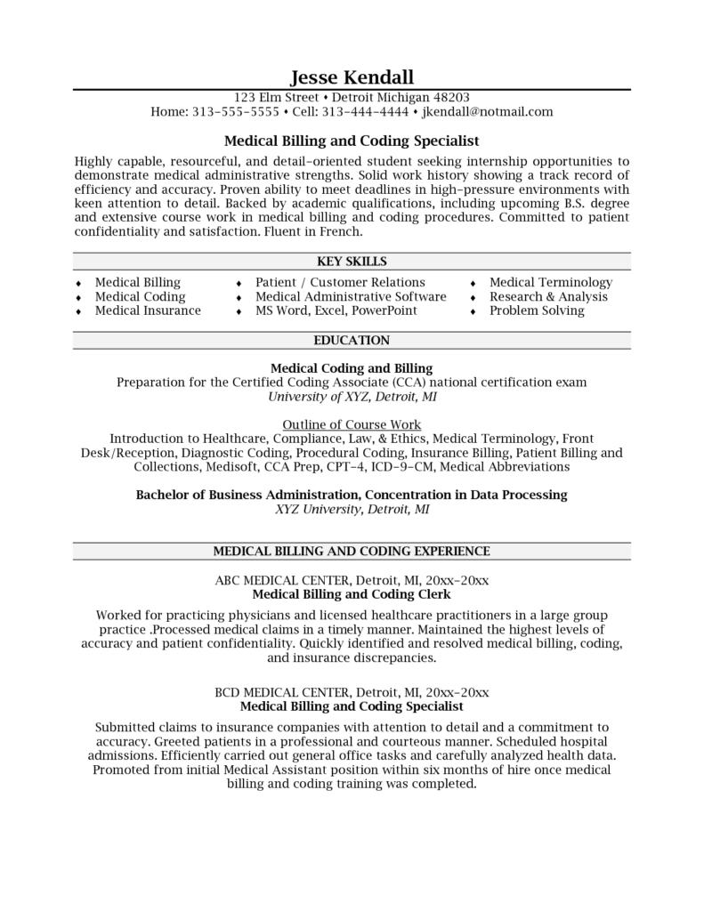 Medical Billing and Coding Job Description Sample and Medical Coding Resume Samples 20 Medical Billing Resume Examples