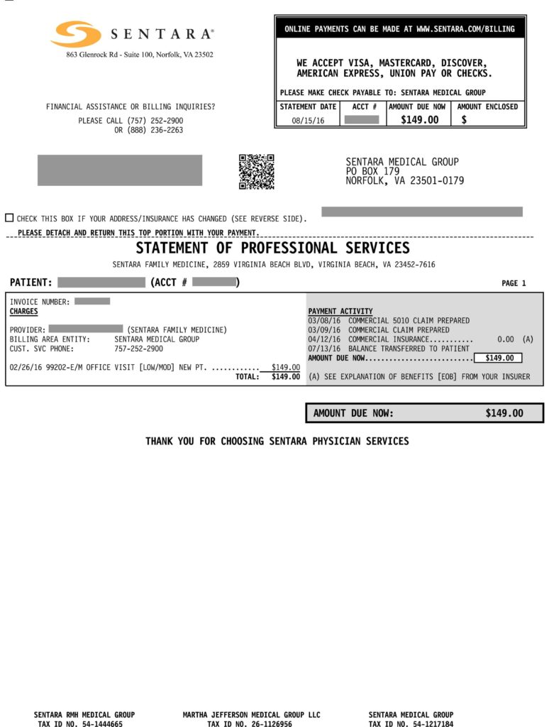 Medical Bills Template and Pay Your Hospital Bill Select the Bill You Received Sentara