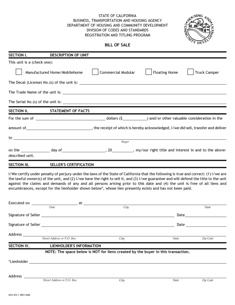 Mobile Home Bill Of Sale Template and Printable Sample Bill Of Sale Camper form Legal forms Online