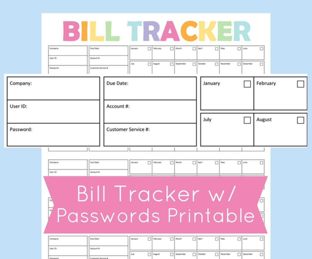 Monthly Bill organizer Template and Monthly Bill organizer Printable Expense Tracker Bill