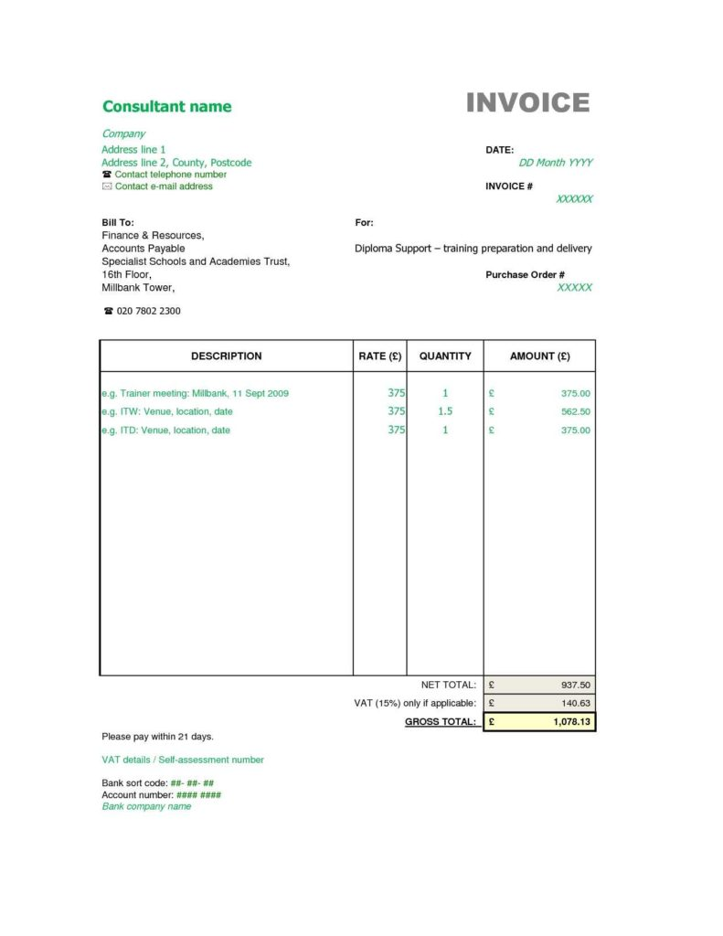 Monthly Invoice Template and Sample Consultant Invoice Excel Based Consulting Invoice Template