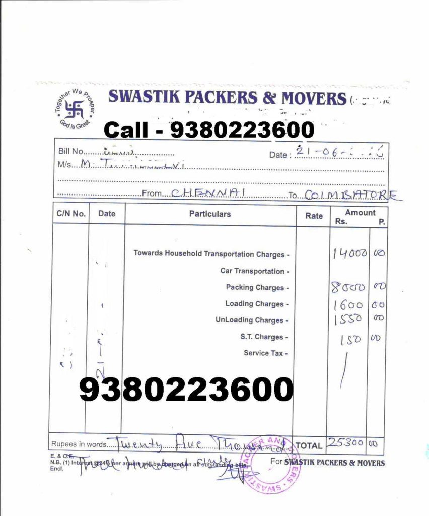Moving Company Invoice Template Free and Packers and Movers Bill for Claim In Chennai