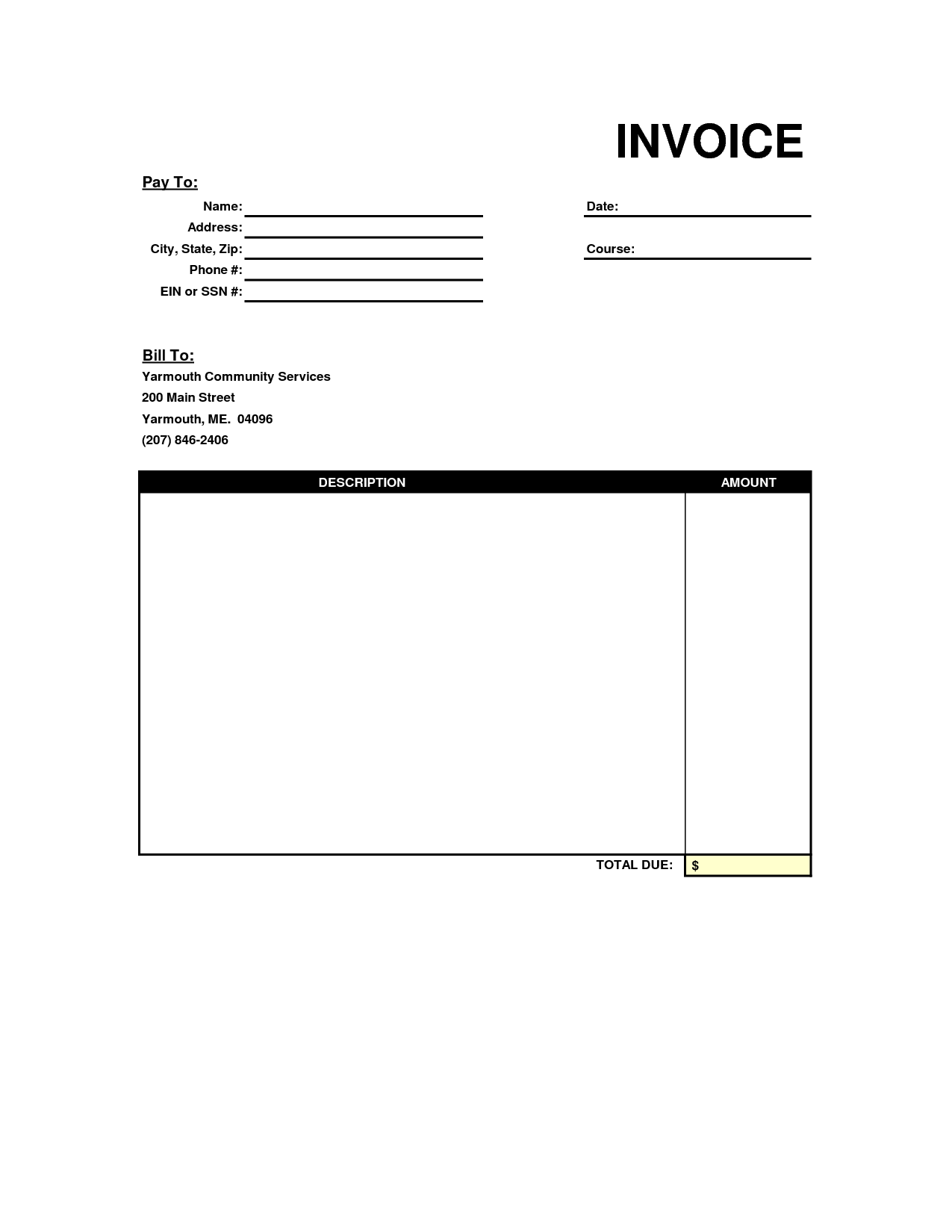 Online Bill Template and Invoice Template Blank Free to Do List